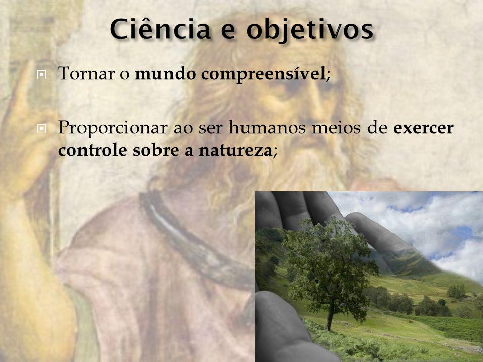 Tornar o mundo compreensível ; Proporcionar ao ser humanos meios de exercer controle sobre a natureza ;