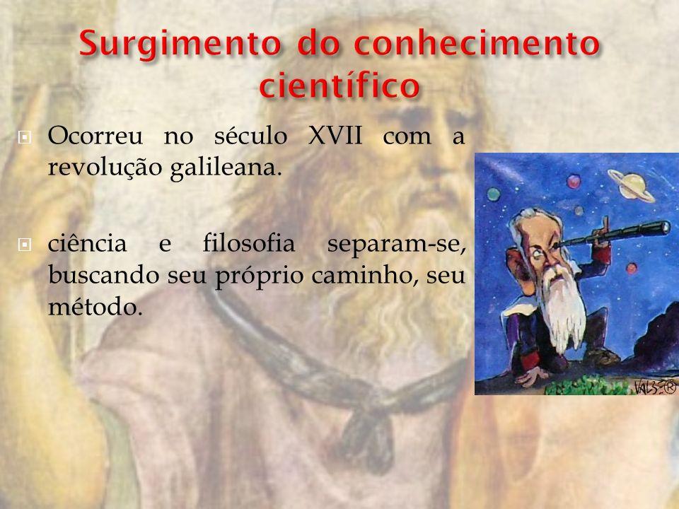 Ocorreu no século XVII com a revolução galileana. ciência e filosofia separam-se, buscando seu próprio caminho, seu método.