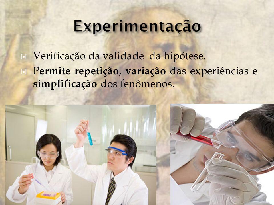Verificação da validade da hipótese. P ermite repetição, variação das experiências e simplificação dos fenômenos.