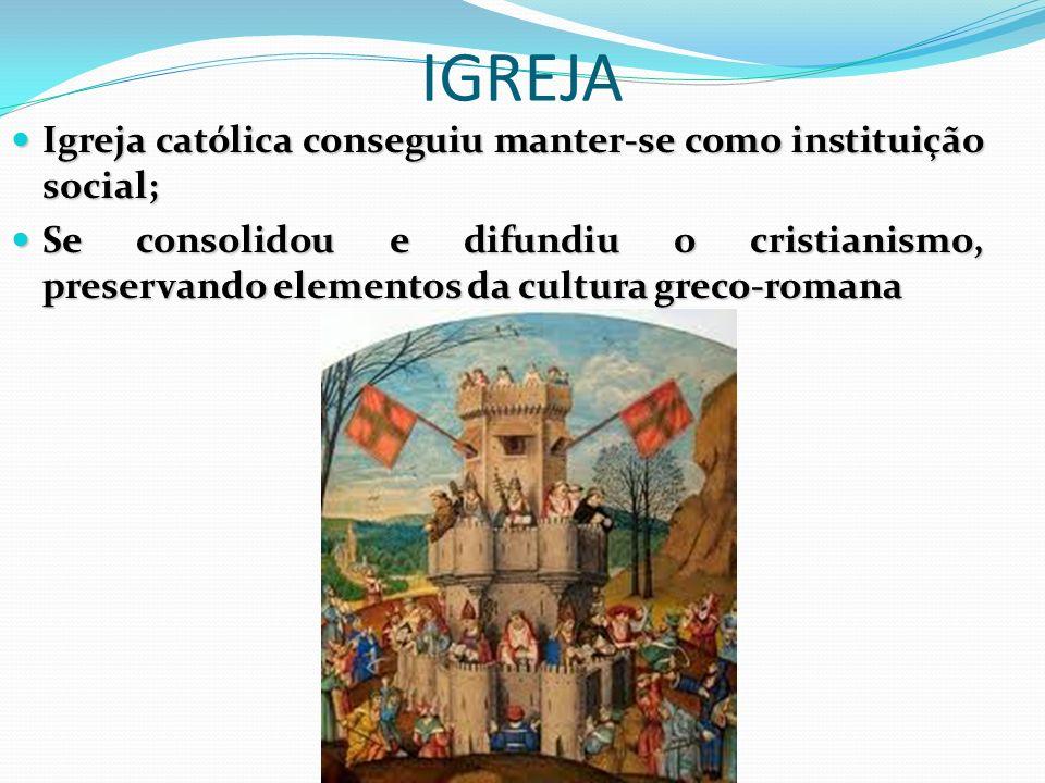 IGREJA Igreja católica conseguiu manter-se como instituição social; Igreja católica conseguiu manter-se como instituição social; Se consolidou e difun