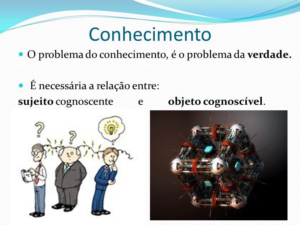 Conhecimento O problema do conhecimento, é o problema da verdade. É necessária a relação entre: sujeito cognoscente e objeto cognoscível.
