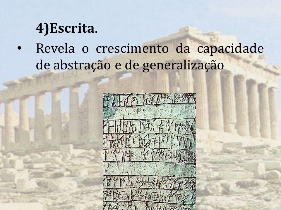 4)Escrita. Revela o crescimento da capacidade de abstração e de generalização