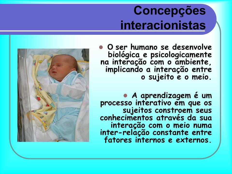 Concepções interacionistas O ser humano se desenvolve biológica e psicologicamente na interação com o ambiente, implicando a interação entre o sujeito