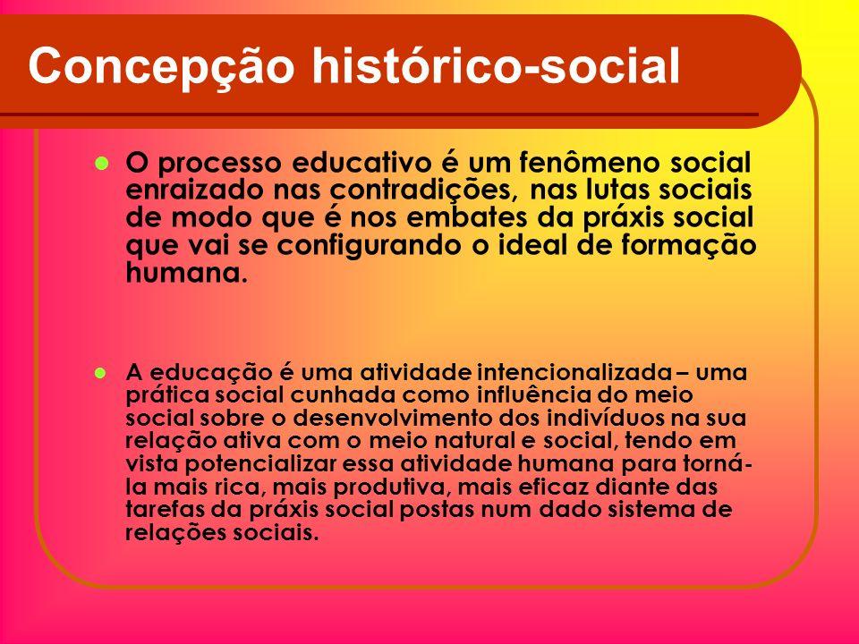 Concepção histórico-social O processo educativo é um fenômeno social enraizado nas contradições, nas lutas sociais de modo que é nos embates da práxis