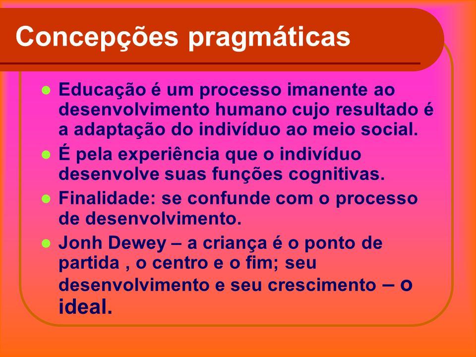 Concepções pragmáticas Educação é um processo imanente ao desenvolvimento humano cujo resultado é a adaptação do indivíduo ao meio social. É pela expe