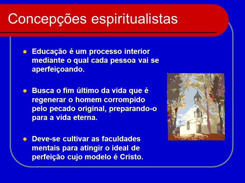 Concepções espiritualistas Educação é um processo interior mediante o qual cada pessoa vai se aperfeiçoando. Busca o fim último da vida que é regenera