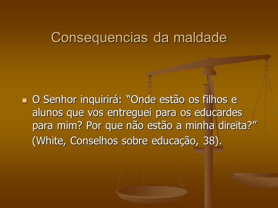 Consequencias da maldade O Senhor inquirirá: Onde estão os filhos e alunos que vos entreguei para os educardes para mim.