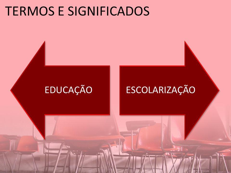 TERMOS E SIGNIFICADOS EDUCAÇÃOESCOLARIZAÇÃO