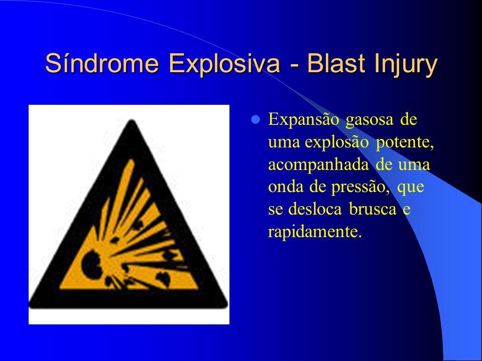 Síndrome Explosiva - Blast Injury Expansão gasosa de uma explosão potente, acompanhada de uma onda de pressão, que se desloca brusca e rapidamente.