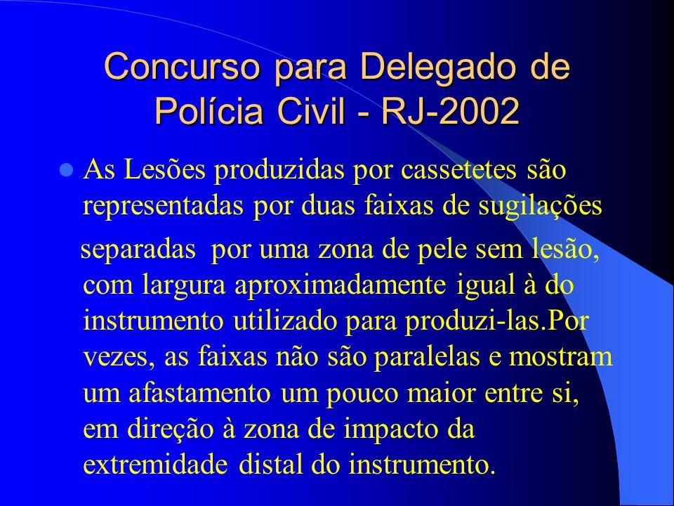Concurso para Delegado de Polícia Civil - RJ-2002 As Lesões produzidas por cassetetes são representadas por duas faixas de sugilações separadas por um