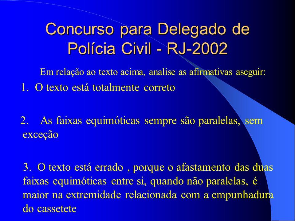Concurso para Delegado de Polícia Civil - RJ-2002 Em relação ao texto acima, analíse as afirmativas aseguir: 1. O texto está totalmente correto 2. As