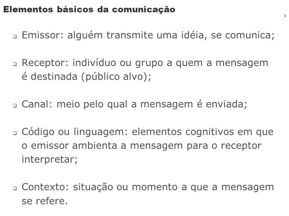 3 Elementos básicos da comunicação Emissor: alguém transmite uma idéia, se comunica; Receptor: indivíduo ou grupo a quem a mensagem é destinada (públi