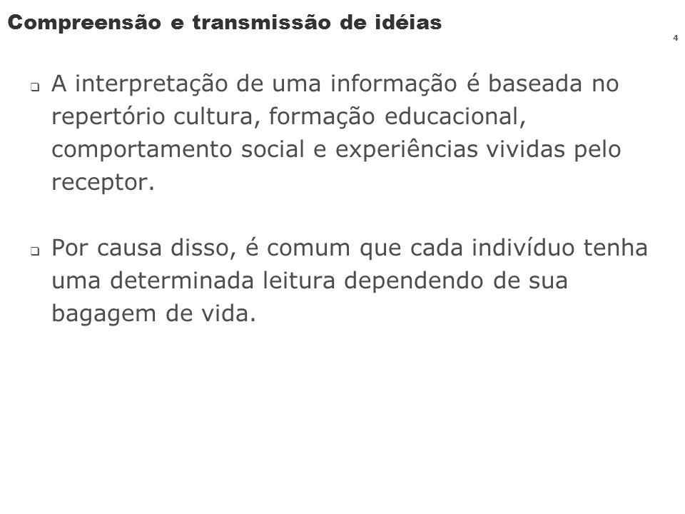 4 Compreensão e transmissão de idéias A interpretação de uma informação é baseada no repertório cultura, formação educacional, comportamento social e