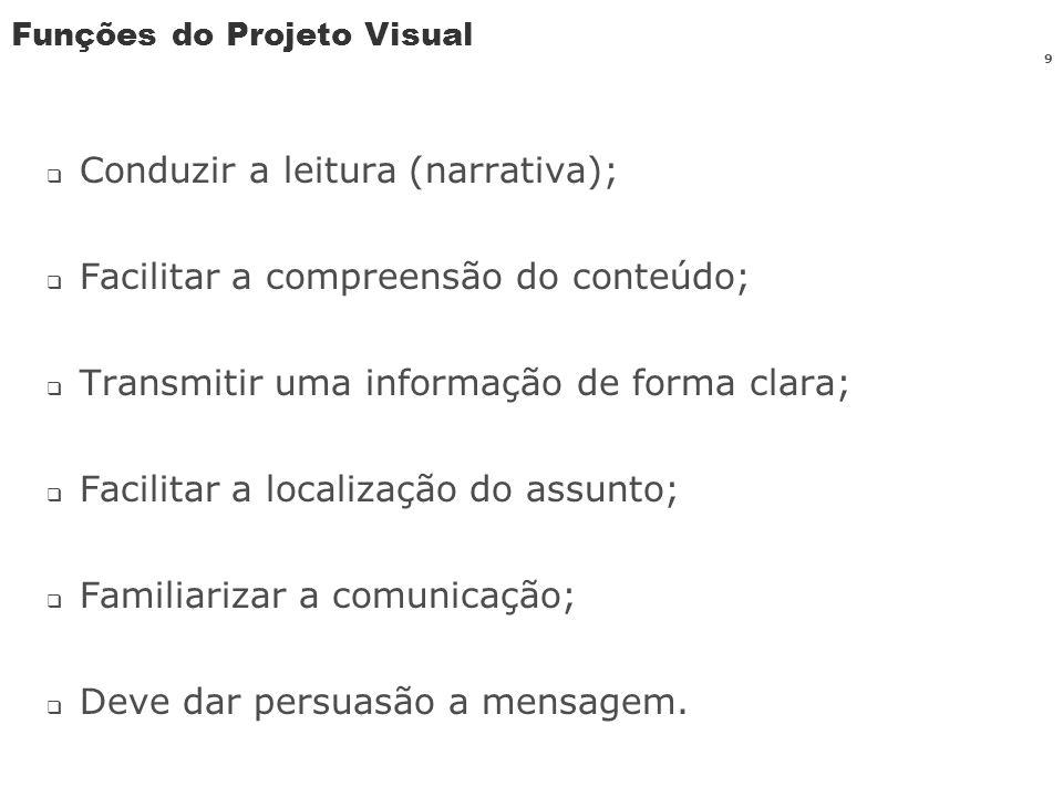 Funções do Projeto Visual Conduzir a leitura (narrativa); Facilitar a compreensão do conteúdo; Transmitir uma informação de forma clara; Facilitar a l