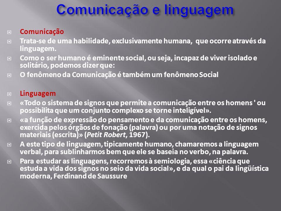 Comunicação Trata-se de uma habilidade, exclusivamente humana, que ocorre através da linguagem. Como o ser humano é eminente social, ou seja, incapaz
