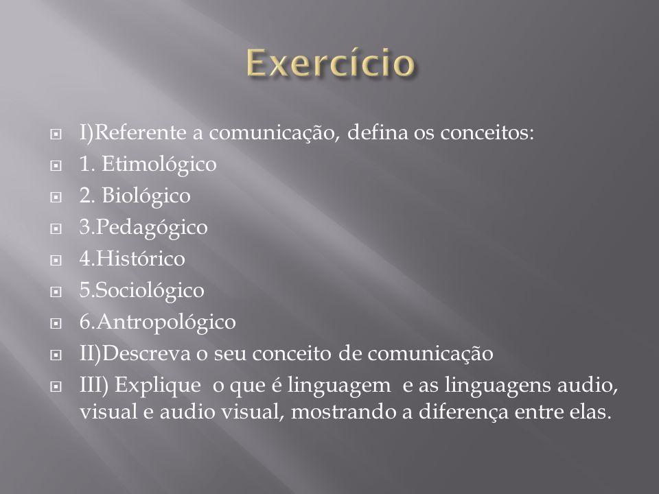 I)Referente a comunicação, defina os conceitos: 1. Etimológico 2. Biológico 3.Pedagógico 4.Histórico 5.Sociológico 6.Antropológico II)Descreva o seu c