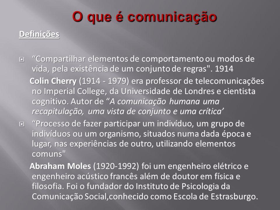 1.Conceito Etimológico Comunicação vem do latim communis, comum, dando idéia de comunidade.
