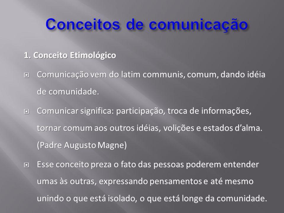 1. Conceito Etimológico Comunicação vem do latim communis, comum, dando idéia de comunidade. Comunicação vem do latim communis, comum, dando idéia de