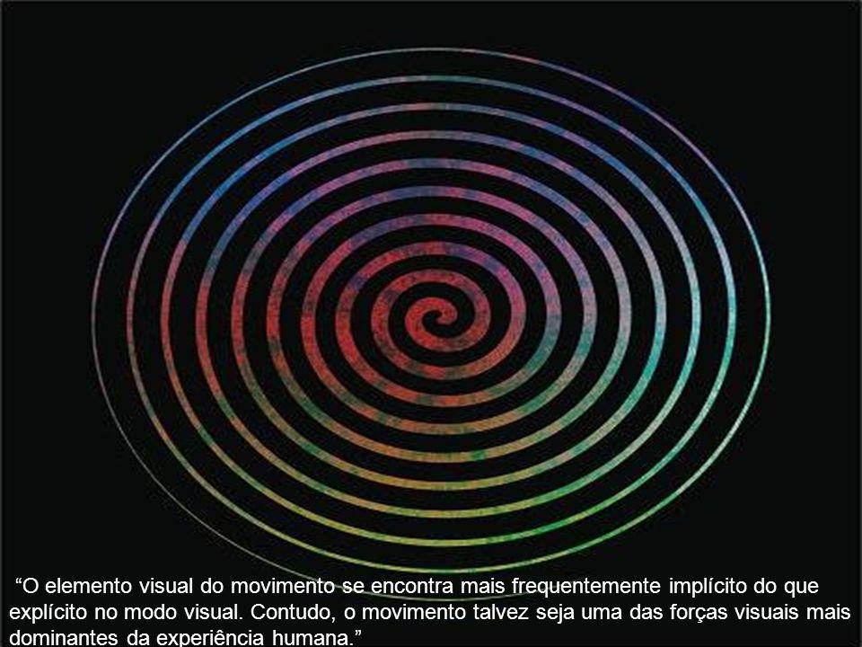 O elemento visual do movimento se encontra mais frequentemente implícito do que explícito no modo visual. Contudo, o movimento talvez seja uma das for