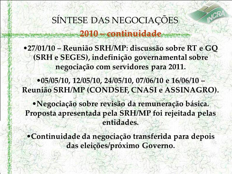 SÍNTESE DAS NEGOCIAÇÕES 2010 – continuidade 27/01/10 – Reunião SRH/MP: discussão sobre RT e GQ (SRH e SEGES), indefinição governamental sobre negociação com servidores para 2011.