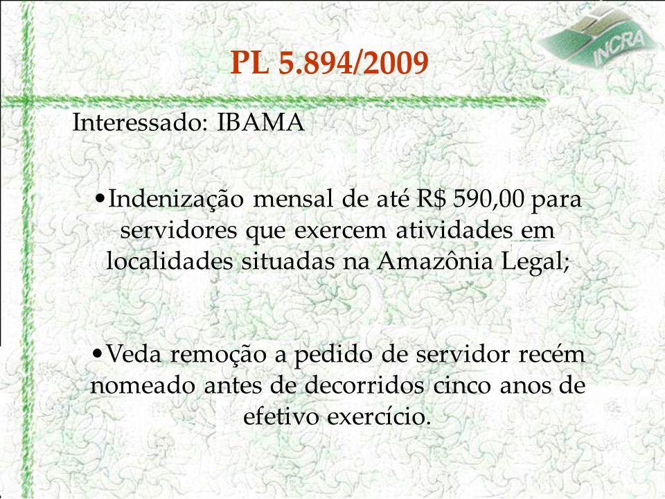 PL 5.894/2009 Interessado: IBAMA Indenização mensal de até R$ 590,00 para servidores que exercem atividades em localidades situadas na Amazônia Legal; Veda remoção a pedido de servidor recém nomeado antes de decorridos cinco anos de efetivo exercício.