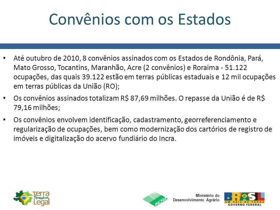 Ministério do Desenvolvimento Agrário Convênios com os Estados Até outubro de 2010, 8 convênios assinados com os Estados de Rondônia, Pará, Mato Gross
