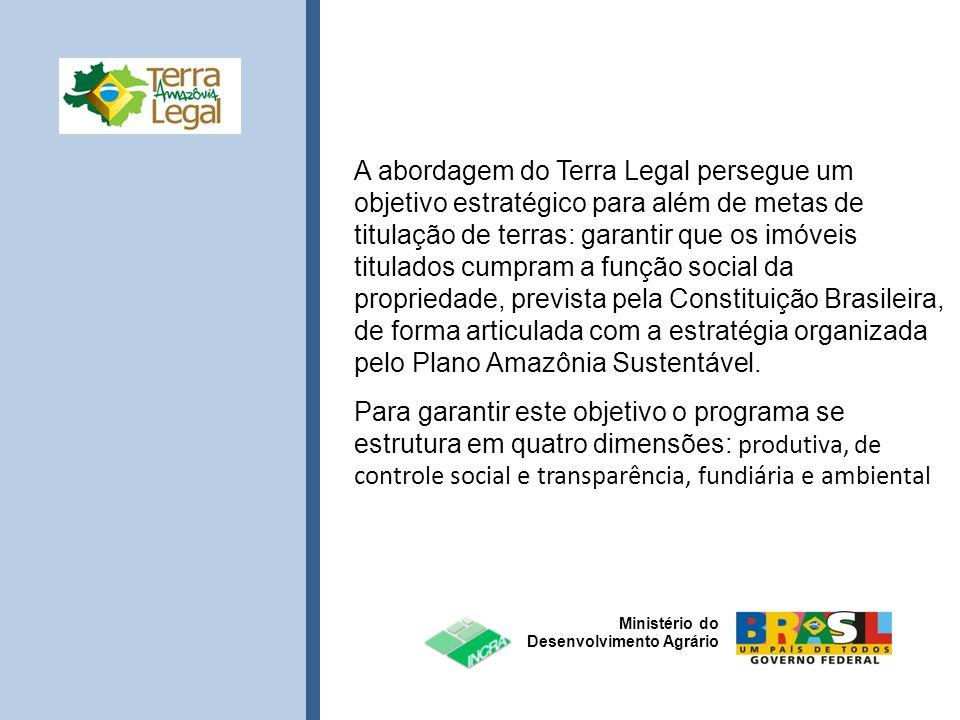 Ministério do Desenvolvimento Agrário A abordagem do Terra Legal persegue um objetivo estratégico para além de metas de titulação de terras: garantir