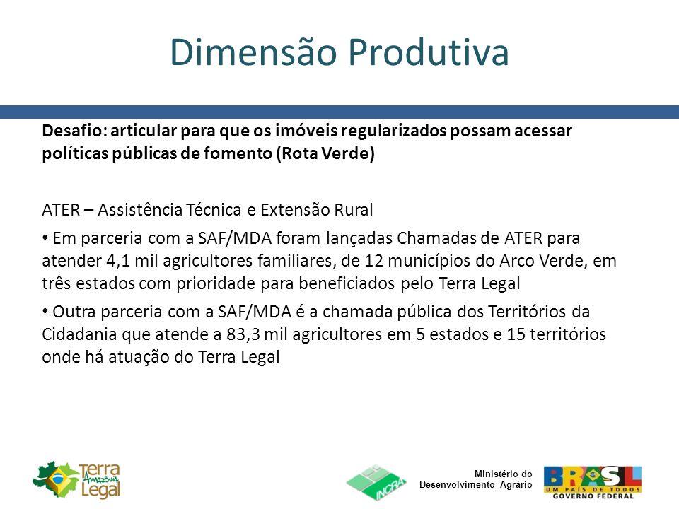 Ministério do Desenvolvimento Agrário Dimensão Produtiva Desafio: articular para que os imóveis regularizados possam acessar políticas públicas de fom