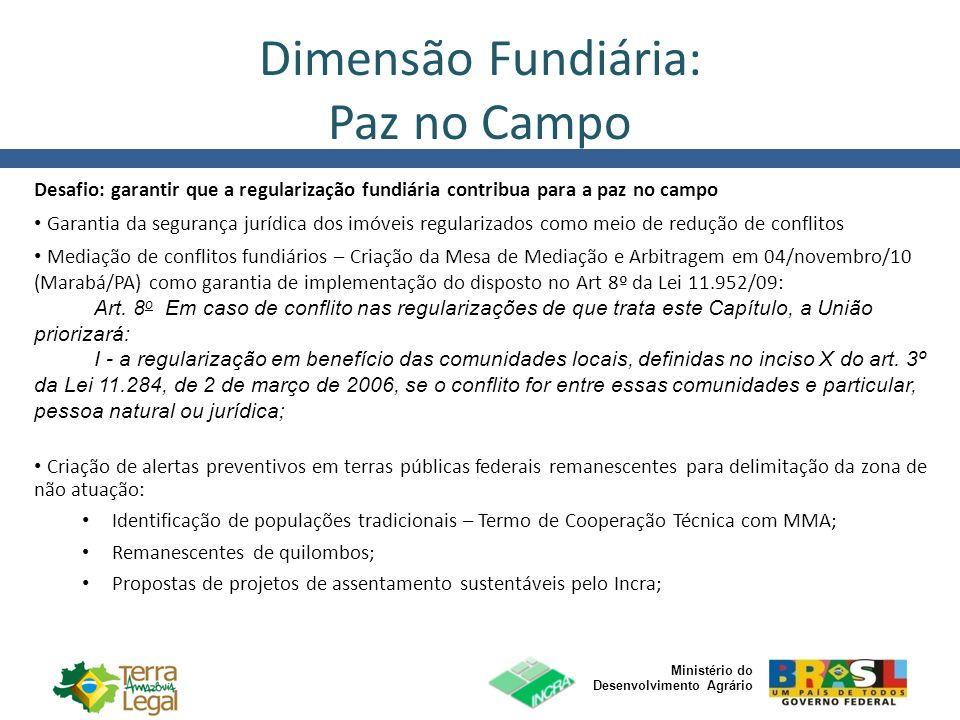 Ministério do Desenvolvimento Agrário Dimensão Fundiária: Paz no Campo Desafio: garantir que a regularização fundiária contribua para a paz no campo G