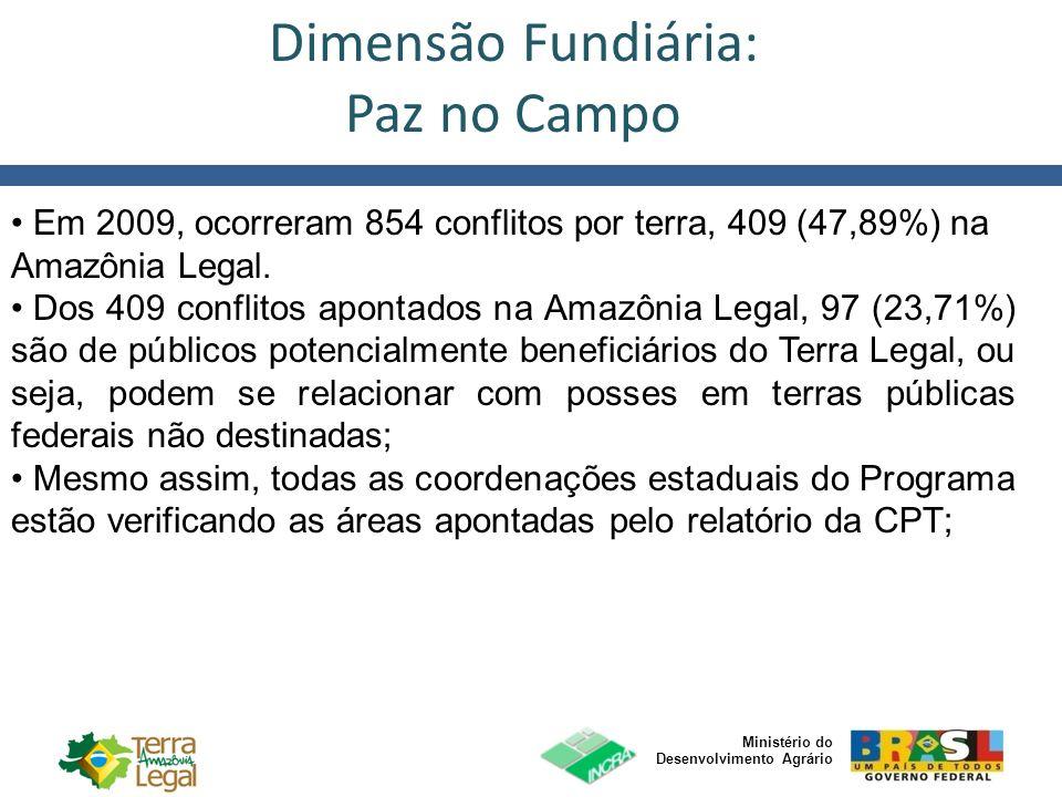 Ministério do Desenvolvimento Agrário Em 2009, ocorreram 854 conflitos por terra, 409 (47,89%) na Amazônia Legal. Dos 409 conflitos apontados na Amazô