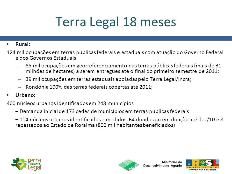 Ministério do Desenvolvimento Agrário Terra Legal 18 meses Rural Novo pregão publicado até final de 2010 para identificar e medir 100% das terras públicas federais na Amazônia Legal até 2012; 430 títulos no PA, RO, AM, MT, TO e MA.