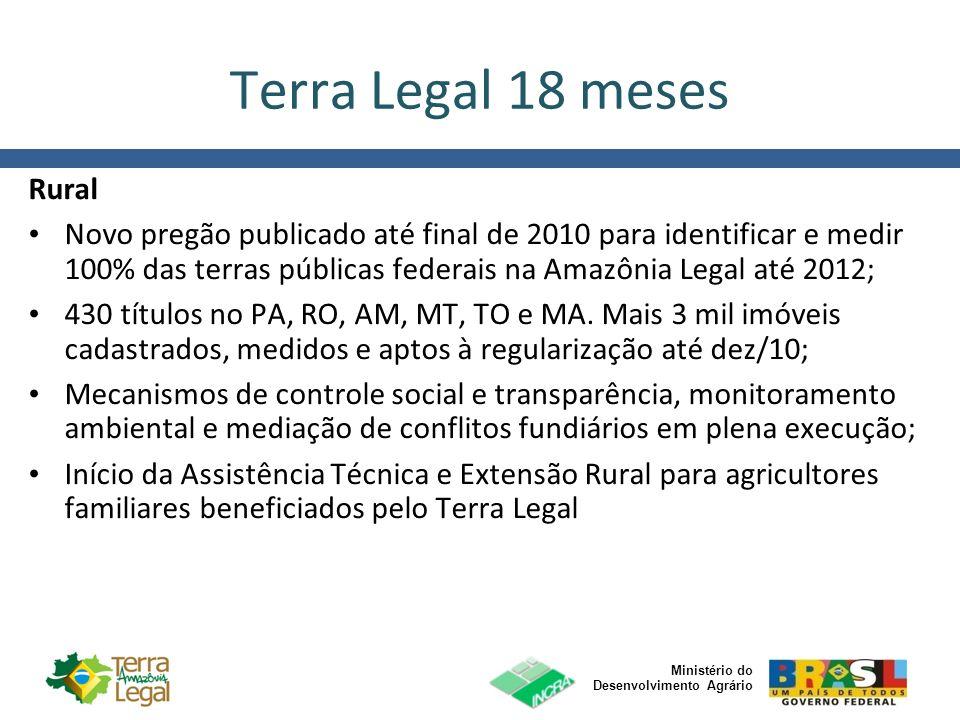 Ministério do Desenvolvimento Agrário Terra Legal 18 meses Rural Novo pregão publicado até final de 2010 para identificar e medir 100% das terras públ