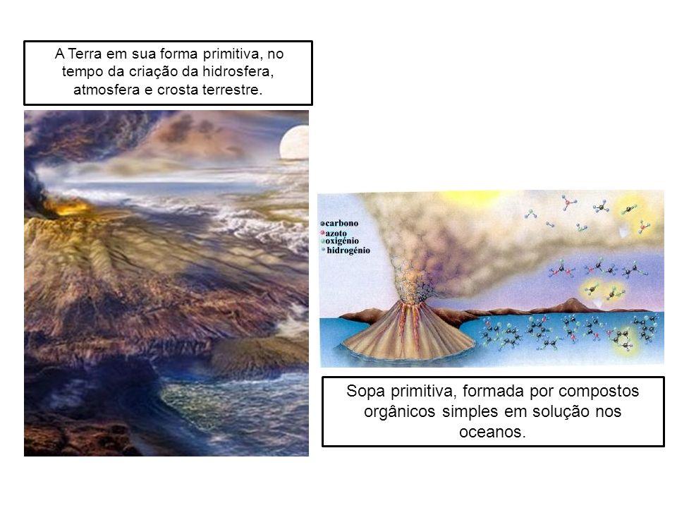 A Terra em sua forma primitiva, no tempo da criação da hidrosfera, atmosfera e crosta terrestre. Sopa primitiva, formada por compostos orgânicos simpl