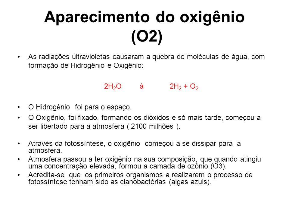 Aparecimento do oxigênio (O2) As radiações ultravioletas causaram a quebra de moléculas de água, com formação de Hidrogênio e Oxigênio: 2H 2 O à 2H 2