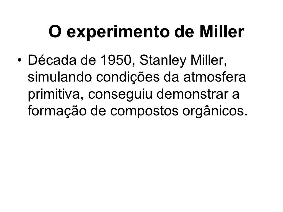 Década de 1950, Stanley Miller, simulando condições da atmosfera primitiva, conseguiu demonstrar a formação de compostos orgânicos. O experimento de M