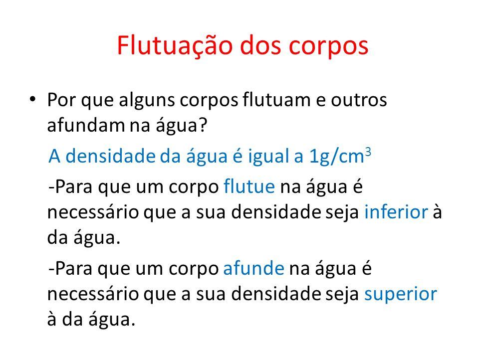 Flutuação dos corpos Por que alguns corpos flutuam e outros afundam na água? A densidade da água é igual a 1g/cm 3 -Para que um corpo flutue na água é