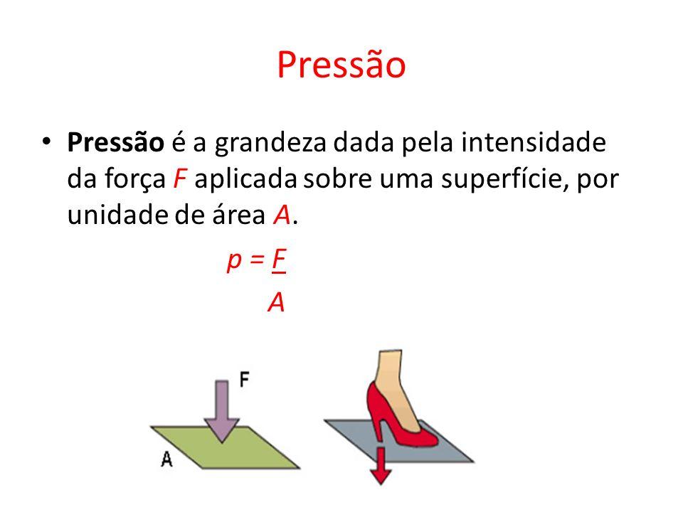 Pressão Pressão é a grandeza dada pela intensidade da força F aplicada sobre uma superfície, por unidade de área A. p = F A