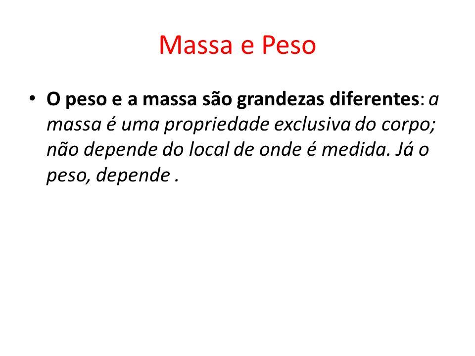 Massa e Peso O peso e a massa são grandezas diferentes: a massa é uma propriedade exclusiva do corpo; não depende do local de onde é medida. Já o peso