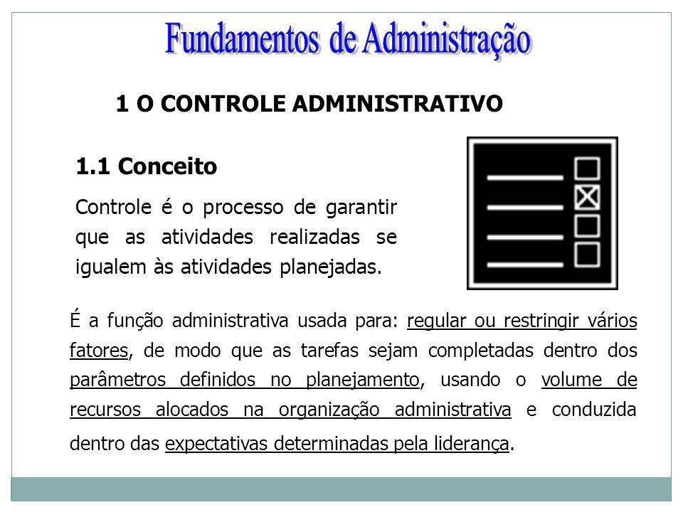 1 O CONTROLE ADMINISTRATIVO 1.1 Conceito Controle é o processo de garantir que as atividades realizadas se igualem às atividades planejadas. É a funçã