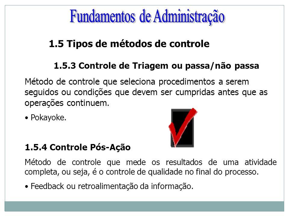 1.5 Tipos de métodos de controle 1.5.3 Controle de Triagem ou passa/não passa Método de controle que seleciona procedimentos a serem seguidos ou condi