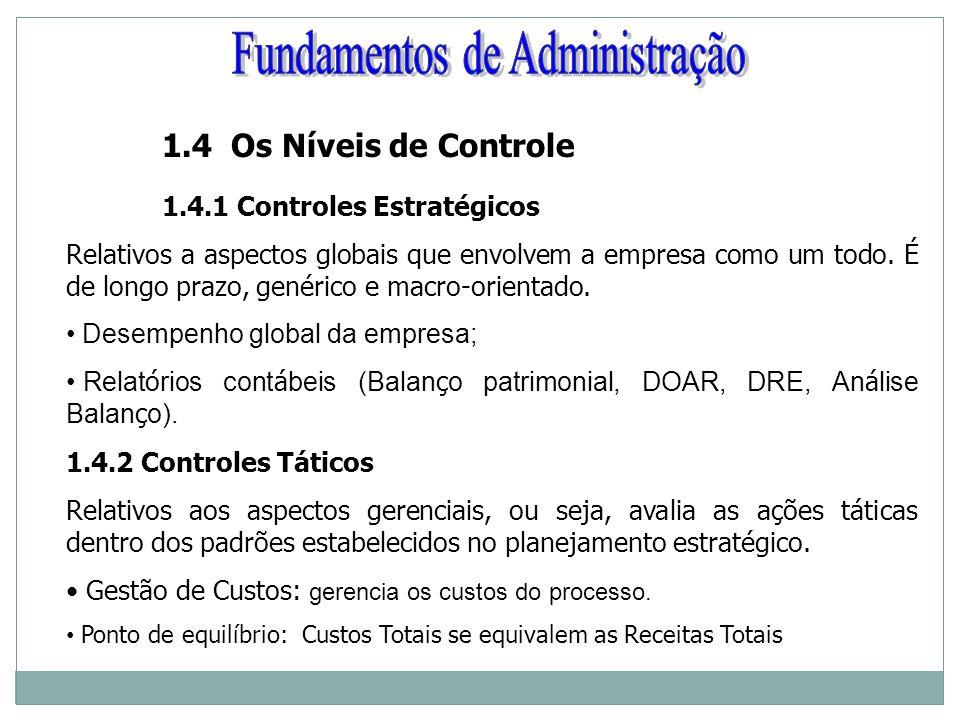 1.4 Os Níveis de Controle 1.4.1 Controles Estratégicos Relativos a aspectos globais que envolvem a empresa como um todo. É de longo prazo, genérico e