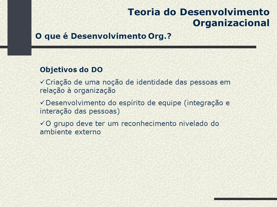 Teoria do Desenvolvimento Organizacional Objetivos do DO Criação de uma noção de identidade das pessoas em relação à organização Desenvolvimento do es
