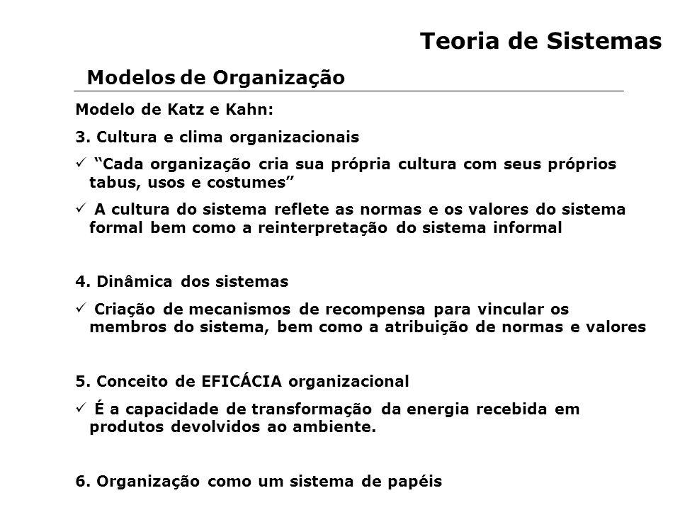 Modelos de Organização Teoria de Sistemas Modelo de Katz e Kahn: 3. Cultura e clima organizacionais Cada organização cria sua própria cultura com seus