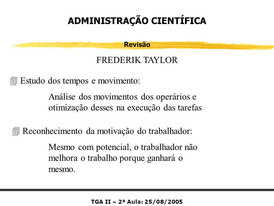 ADMINISTRAÇÃO CIENTÍFICA Revisão FREDERIK TAYLOR 4 Estudo dos tempos e movimento: Análise dos movimentos dos operários e otimização desses na execução