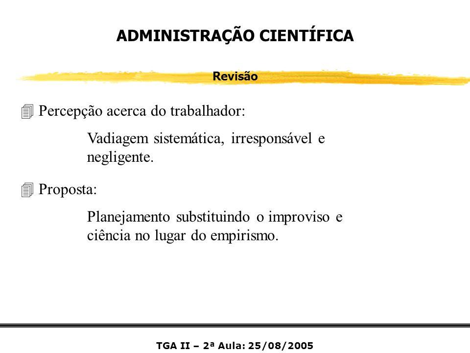 ADMINISTRAÇÃO CIENTÍFICA Revisão 4 Percepção acerca do trabalhador: Vadiagem sistemática, irresponsável e negligente. 4 Proposta: Planejamento substit