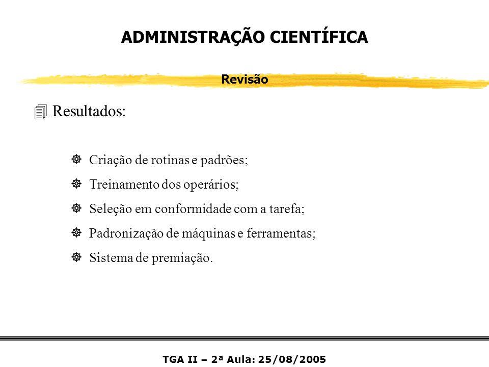 ADMINISTRAÇÃO CIENTÍFICA Revisão 4 Resultados: ] Criação de rotinas e padrões; ] Treinamento dos operários; ] Seleção em conformidade com a tarefa; ]
