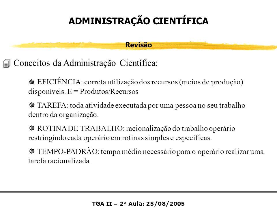 ADMINISTRAÇÃO CIENTÍFICA Revisão 4 Conceitos da Administração Científica: ] EFICIÊNCIA: correta utilização dos recursos (meios de produção) disponívei