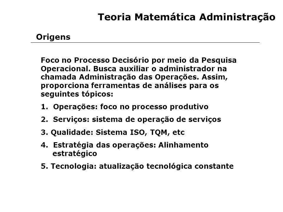 Teoria Matemática Administração Foco no Processo Decisório por meio da Pesquisa Operacional. Busca auxiliar o administrador na chamada Administração d