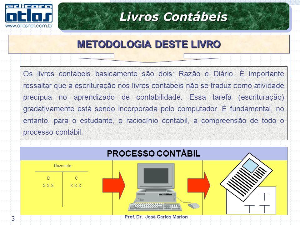 Prof. Dr. José Carlos Marion 3 Livros Contábeis METODOLOGIA DESTE LIVRO Os livros contábeis basicamente são dois: Razão e Diário. É importante ressalt