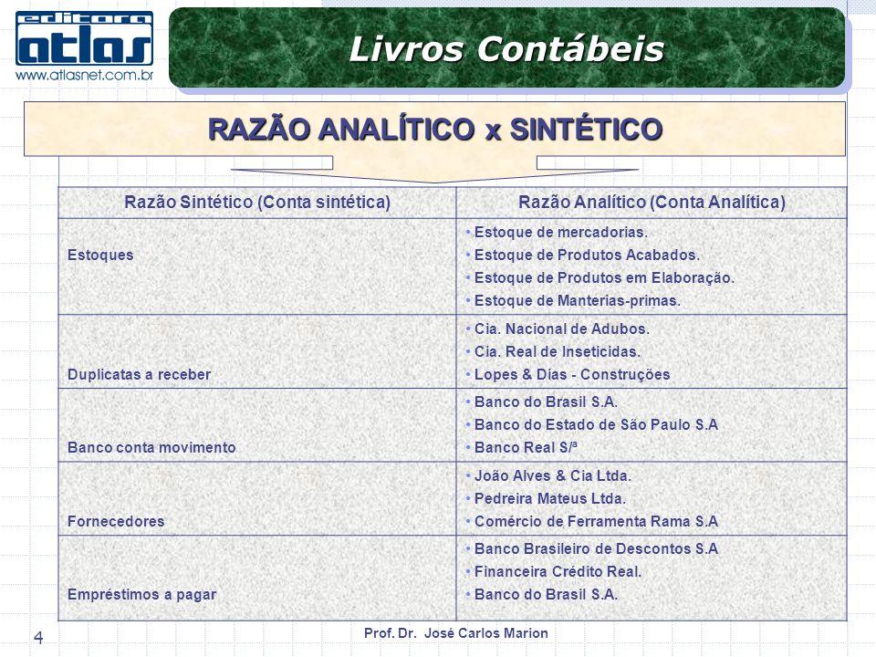 Prof. Dr. José Carlos Marion 4 Livros Contábeis RAZÃO ANALÍTICO x SINTÉTICO Razão Sintético (Conta sintética)Razão Analítico (Conta Analítica) Estoque